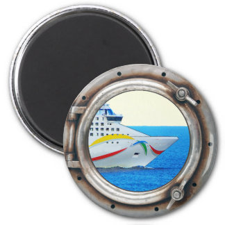 Luxury Liner Porthole View 2 Inch Round Magnet