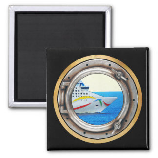 Luxury Liner Porthole View 2 Inch Square Magnet