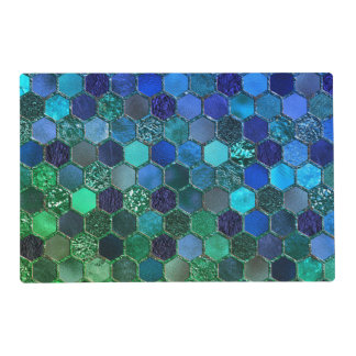 Luxury Metal Foil Glitter Blue Green honeycomb Placemat