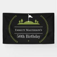 Luxury Modern 50th Birthday Golfer Party Golf Banner