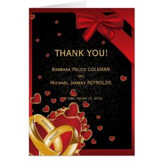 Luxury Modern Golden Rings Hearts Black Thank You