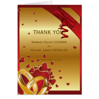 Luxury Modern Golden Rings Hearts Red Thank You