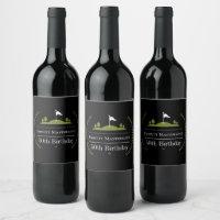 Luxury Modern Golfer 50th Birthday Party Wine Label