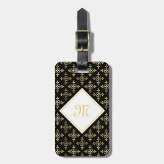 Luxury Monogram Black and Gold Quatre Floral Tags For Luggage