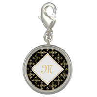Luxury Monogram Black and Gold Quatre Floral Photo Charm