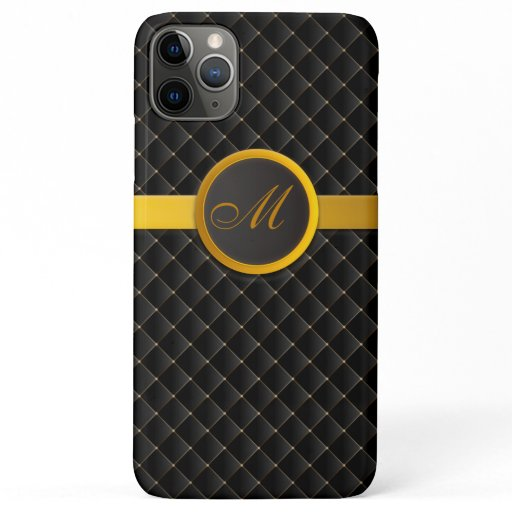 Luxury Monogram Black Diamond Upholstered Leather iPhone 11 Pro Max Case