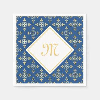 Luxury Monogram Blue and Gold Quatre Floral Paper Napkin