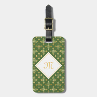 Luxury Monogram Green and Gold Quatre Floral Tag For Bags