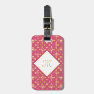 Luxury Monogram Pink and Gold Quatre Floral Travel Bag Tags