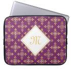 Luxury Monogram Purple and Gold Quatre Floral Computer Sleeve