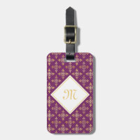 Luxury Monogram Purple and Gold Quatre Floral Luggage Tag