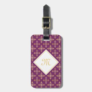 Luxury Monogram Purple and Gold Quatre Floral Luggage Tag