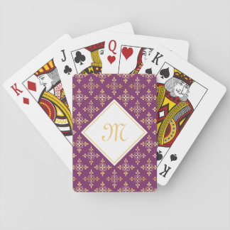 Luxury Monogram Purple and Gold Quatre Floral Playing Cards