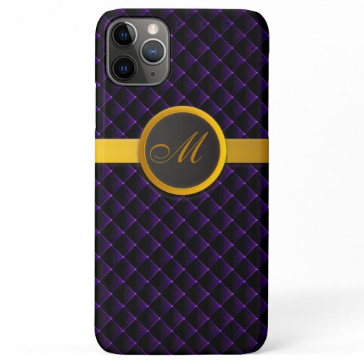 Luxury Monogram Purple Diamond Upholstered Leather iPhone 11 Pro Max Case
