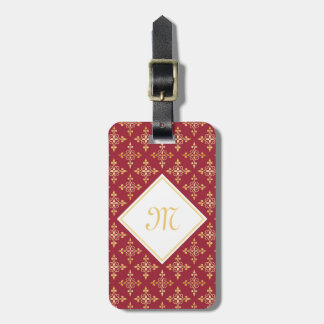 Luxury Monogram Red and Gold Quatre Floral Luggage Tag