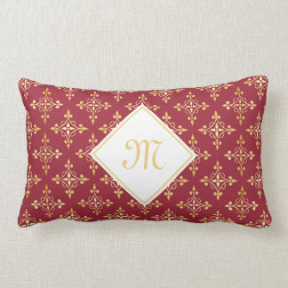 Luxury Monogram Red and Gold Quatre Floral Lumbar Pillow