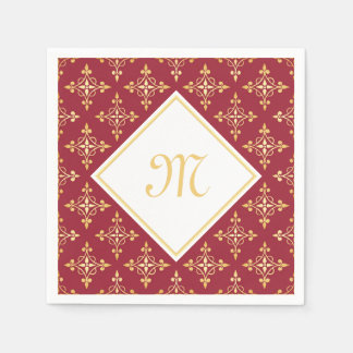 Luxury Monogram Red and Gold Quatre Floral Napkin