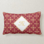 Luxury Monogram Red and Gold Quatre Floral Throw Pillow