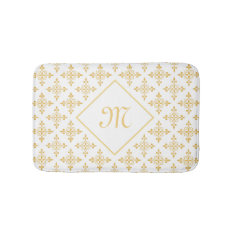 Luxury Monogram White And Gold Quatre Floral Bathroom Mat at Zazzle