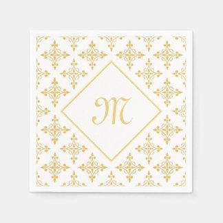 Luxury Monogram White and Gold Quatre Floral Paper Napkin