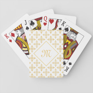 Luxury Monogram White and Gold Quatre Floral Playing Cards