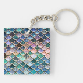 Luxury multicolor Glitter Mermaid Scales Keychain