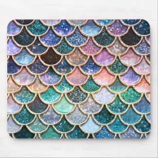 Luxury multicolor Glitter Mermaid Scales Mouse Pad