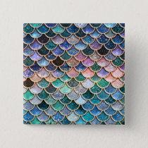 Luxury multicolor Glitter Mermaid Scales Pinback Button