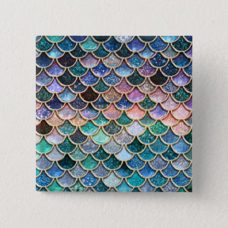 Luxury multicolor Glitter Mermaid Scales Pinback Button