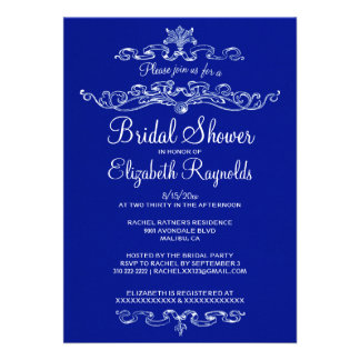 Luxury Navy Blue Bridal Shower Invitations Cards