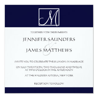 "Luxury Navy Monogram Initial Wedding Invitation 5.25"" Square Invitation Card"