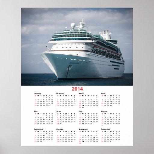 Luxury Ocean Liner Cruise Ship 2014 Calendar Poster  Zazzle