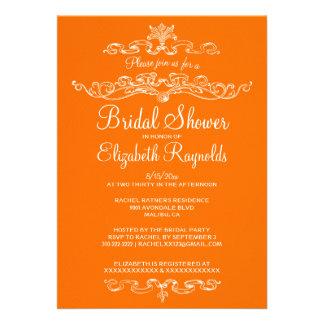 Luxury Orange Bridal Shower Invitations Personalized Invite