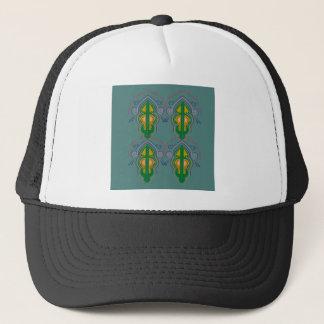 Luxury ornaments green blue trucker hat