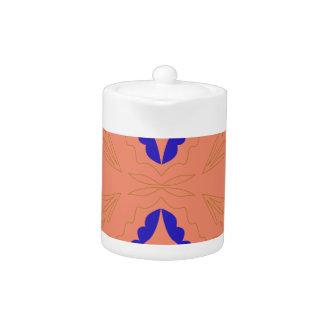 Luxury ornaments orange on white Folk Teapot