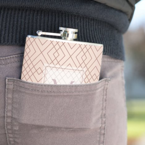 Luxury pattern Rose Gold Monogram Flask