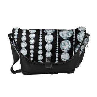 Luxury Pattern with white Diamond Stripes Messenger Bag