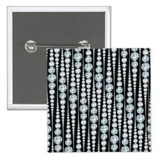 Luxury Pattern with white Diamond Stripes Pinback Button