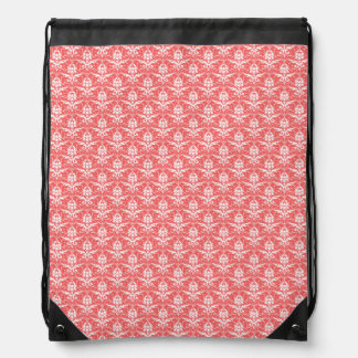 Luxury Peachy Pink Coral Damask Pattern Drawstring Backpack