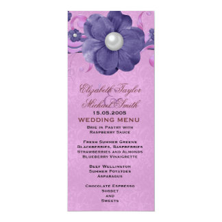 Luxury Pearl Floral Lavender Damask Wedding Menu Card