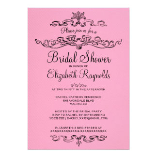 Luxury Pink & Black Bridal Shower Invitations Invite