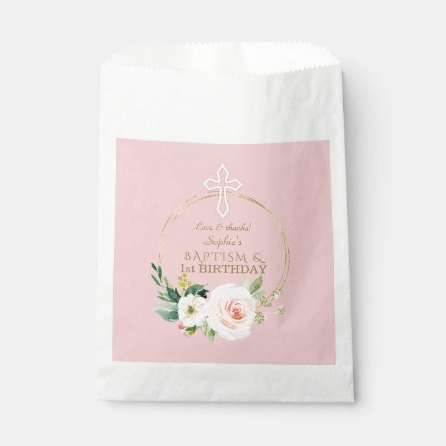 Luxury Pink Blush Floral 1st Birthday and Baptism Favor Bag
