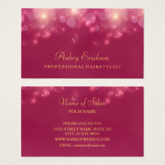 Luxury Pink Bokeh Twinkle Professional Hairstylist Business Card