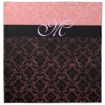Luxury Pink Damask Monogram Napkins Napkins