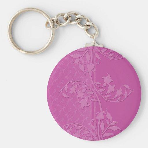 Luxury Pink Damask Swirls Keychain Key Chains