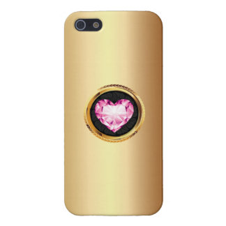 Luxury Pink Diamond Heart Gold iPhone 5 Case
