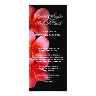 Luxury Pink Elegant Plumeria Wedding Menu Card