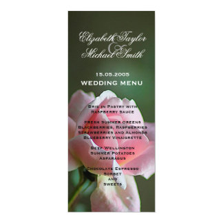 Luxury Pink Garden Rose Wedding Menu Card