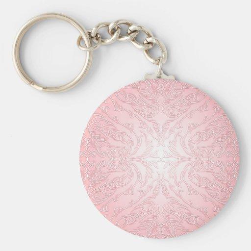 Luxury Pink Lace Damask Keychain Key Chain