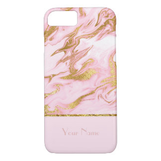 Luxury Pink Marble Pattern and Gold Foil-editable iPhone 7 Case